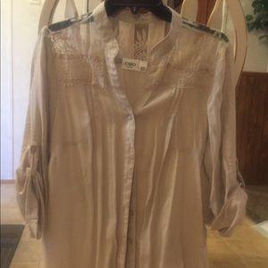 Summer blouse lace insert yoke 3/4 sleeve